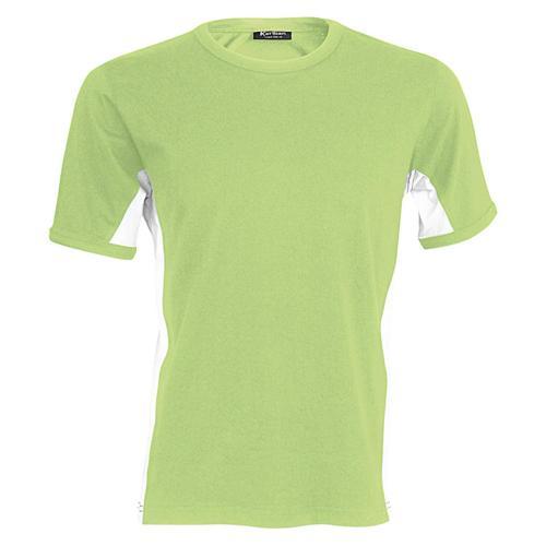 T-shirt bicolore Equipe vert lime blanc