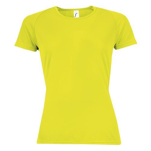 Tee-shirt multitech PES féminin jaune fluo