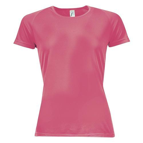 Tee-shirt multitech PES féminin rose fluo
