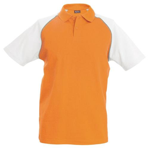 Polo bicolore traditionnal orange blanc