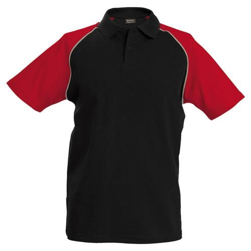 Polo bicolore traditionnal noir rouge