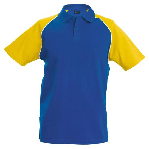 Polo bicolore traditionnal royal jaune