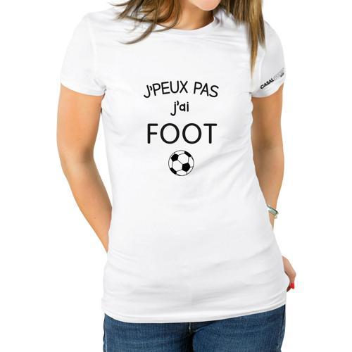 T-shirt Coton blanc femme Casal Sport j'peux pas j'ai foot
