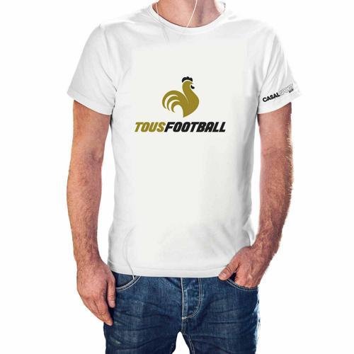 T-shirt Coton blanc homme Casal Sport marquage or noir tous foot