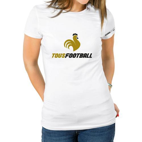 T-shirt Coton blanc femme Casal Sport marquage or noir tous foot