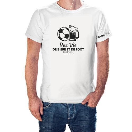 T-shirt Coton blanc homme Casal Sport une vie de bière et de foot