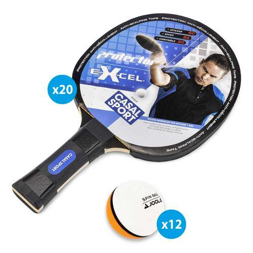 Lot 20 raquettes Protector Excel Casal Sport + 12 balles bicolores