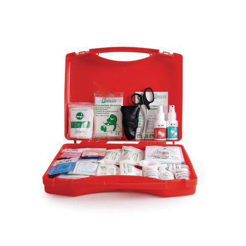 Coffret de secours 8 à 10 personnes - Polypropylène rouge