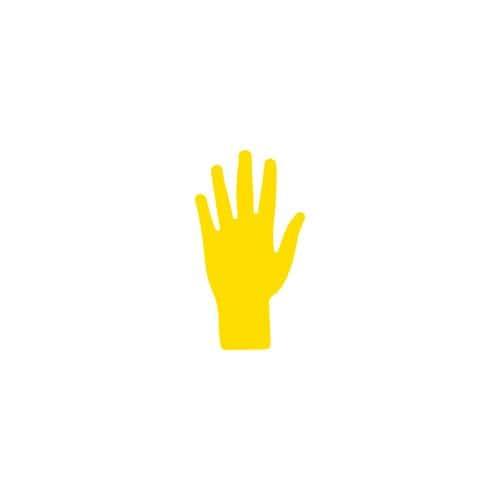 Main jaune marquage au sol