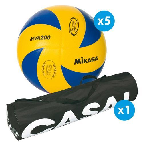 Lot de 5 ballons de volley Mikasa MVA200 + sac de rangement