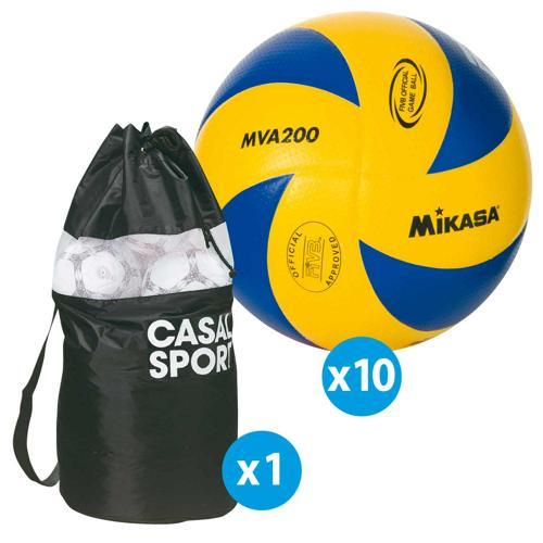 Lot de 10 ballons de volley Mikasa MVA200 + sac de rangement