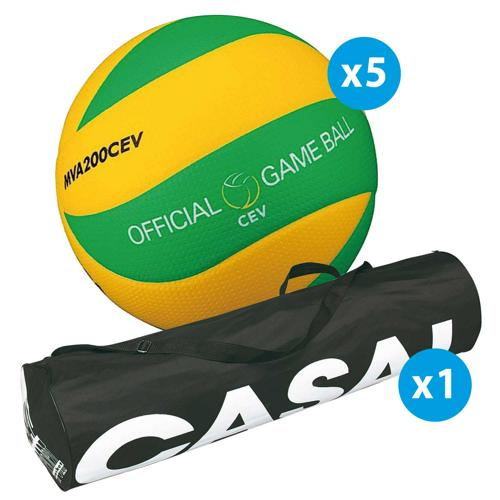 Lot de 5 ballons de volley Mikasa MVA200 CEV + sac de rangement