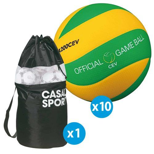 Lot de 10 ballons de volley Mikasa MVA200 CEV + sac de rangement