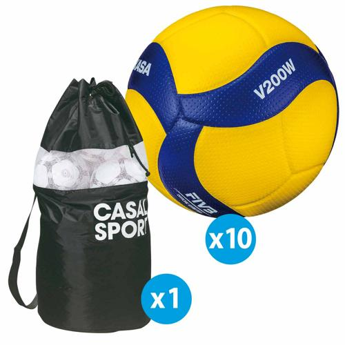 Lot de 10 ballons de volley Mikasa V200W + sac de rangement