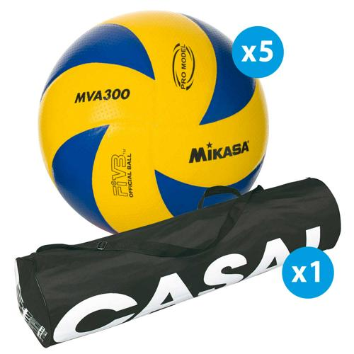 Lot de 5 ballons de volley Mikasa MVA300 + sac de rangement