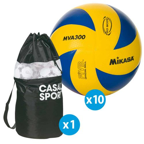 Lot de 10 ballons de volley Mikasa MVA300 + sac de rangement