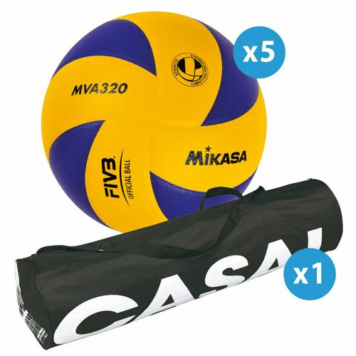 Lot de 5 ballons de volley Mikasa MVA320 + sac de rangement