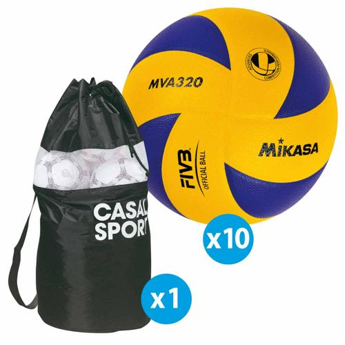 Lot de 10 ballons de volley Mikasa MVA320 + sac de rangement