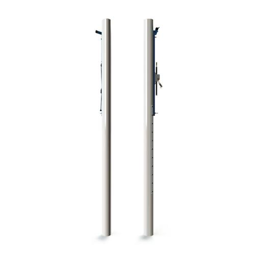 Poteaux en aluminium ovoide, tension cabestan extérieur, partie inférieure de diamètre 90 et partie supérieure en ovoide