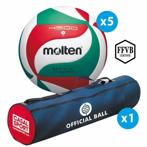 Lot 5 ballons de volley Molten - V5M4500