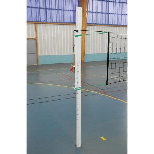 Poteaux de volley en aluminium avec tension du filet par cremaillère extérieure