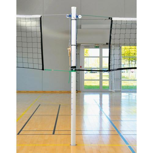 Poteau central de volley en aluminium avec crémaillère.