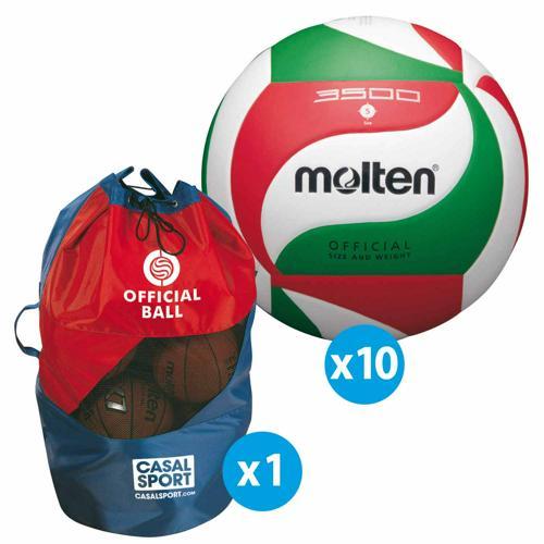 Lot de 10 ballons de volley Molten V5M3500 + sac de rangement