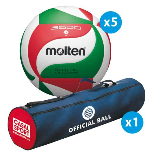 Lot de 5 ballons de volley Molten V5M3500 + sac de rangement