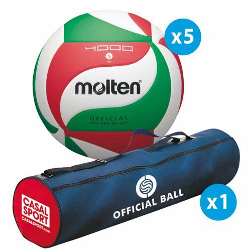Lot de 5 ballons de volley Molten V5M4000 + sac de rangement