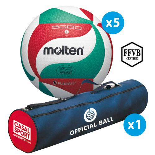Lot de 5 ballons de volley Molten V5M5000 + sac de rangement