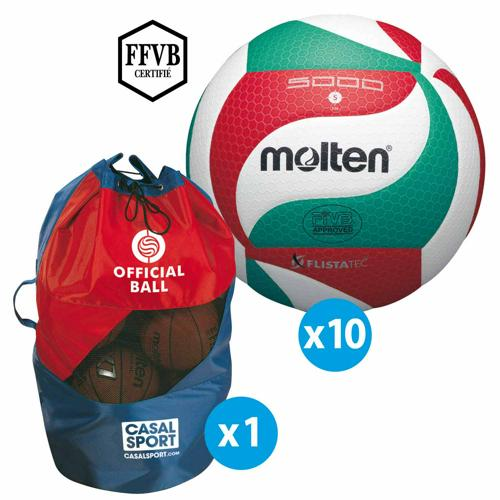 Lot de 10 ballons de volley Molten V5M5000 + sac de rangement
