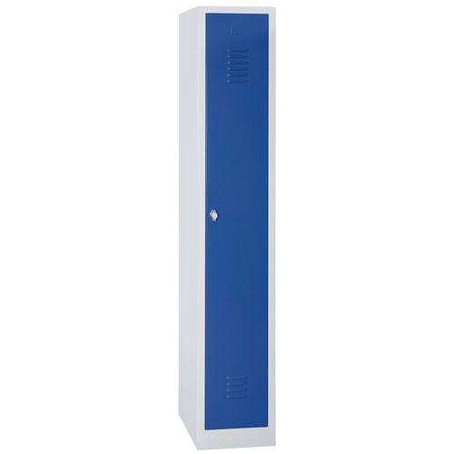 Vestiaire sur socle 1 case avec porte largeur 30cm bleu Manutan