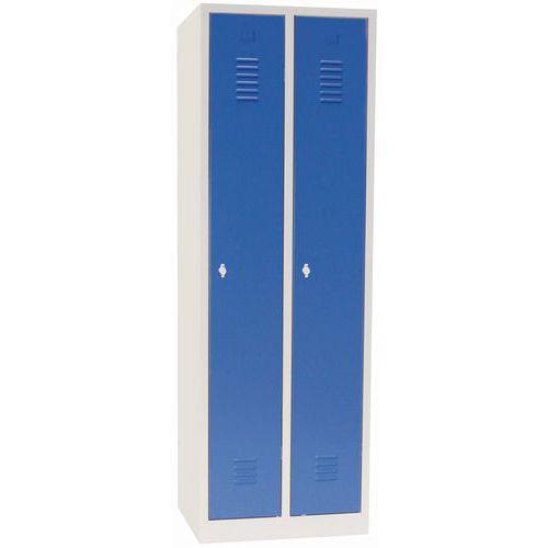 Vestiaire sur socle 2 cases avec portes largeur 30cm bleu Manutan