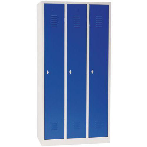Vestiaire sur socle 3 cases avec portes largeur 30cm bleu Manutan