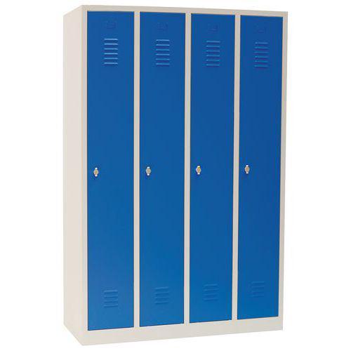 Vestiaire sur socle 4 cases avec portes largeur 30cm bleu Manutan