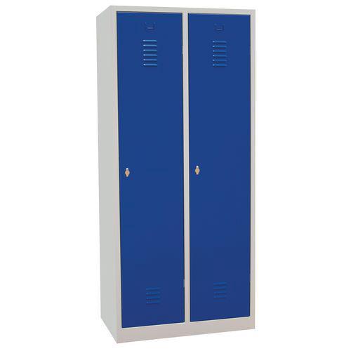 Vestiaire sur socle 2 cases avec portes largeur 40cm bleu Manutan