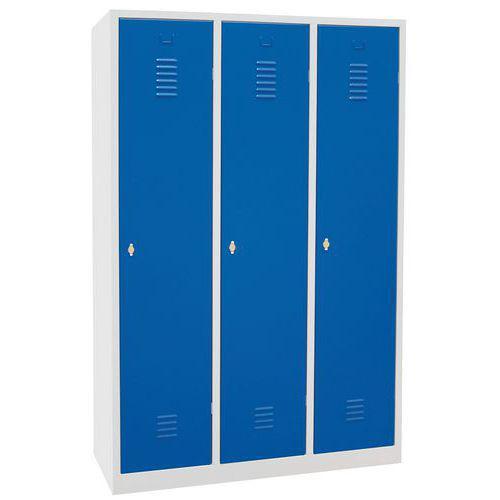 Vestiaire sur socle 3 cases avec portes largeur 40cm bleu Manutan