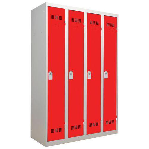Vestiaire monobloc 4 colonnes Largeur 300 mm Rouge