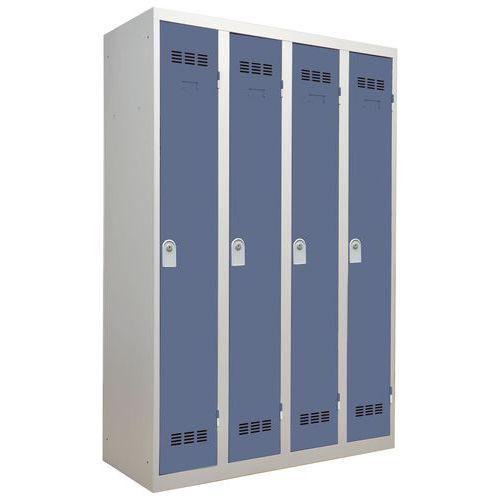 Vestiaire monobloc 4 colonnes Largeur 300 mm Clés Bleu