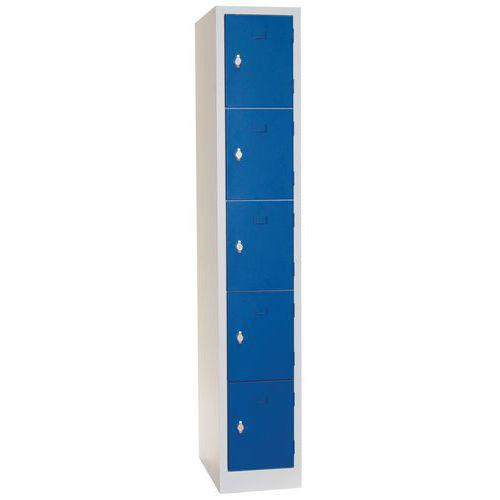 Vestiaire 5 cases Modulo - 1 colonne largeur 300 mm - Sur socle - Manutan