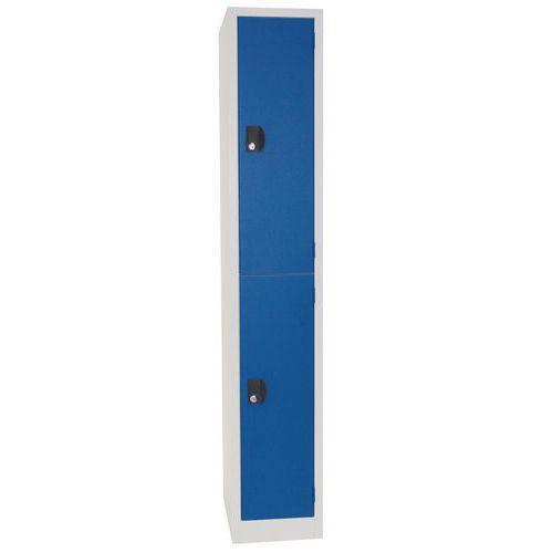 Vestiaire 2 cases penderie Modulo - 1 colonne largeur 300 mm - Sur socle - Manutan