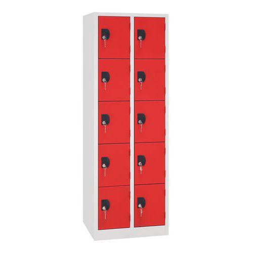 Vestiaire 10 cases Modulo - 2 colonnes largeur 300 mm - Sur socle - Manutan