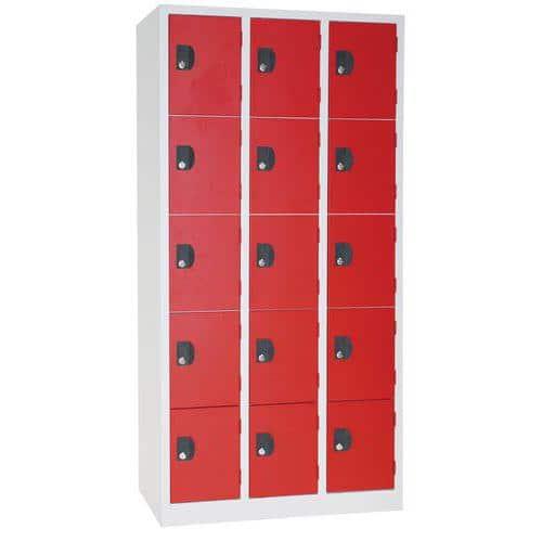 Vestiaire 15 cases Modulo - 3 colonnes largeur 300 mm - Sur socle - Manutan