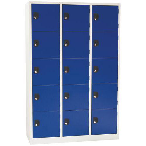 Vestiaire 15 cases Modulo - 3 colonnes largeur 400 mm - Sur socle - Manutan