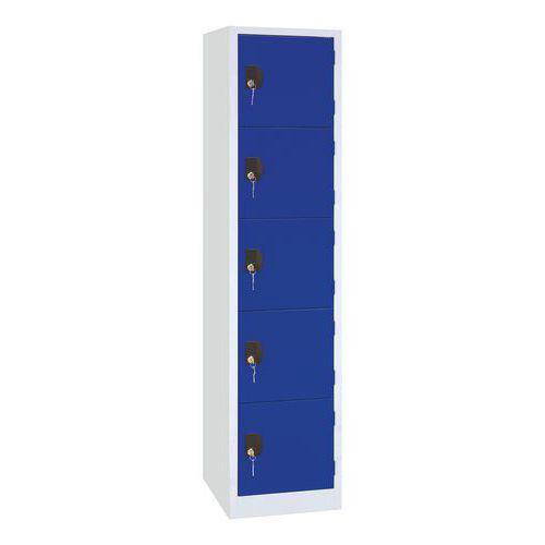 Vestiaire 5 cases Modulo - 1 colonne largeur 400 mm - Sur socle - Manutan
